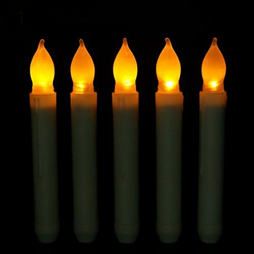 youngerbaby set of 12 yellow mini battery operated wax dipped white body led taper candles