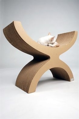 a lovely cardboard cat scratchpost/bed