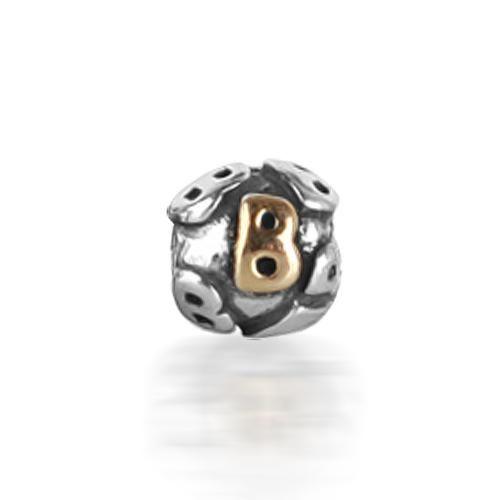 925 Silver Letter B Alphabet Bead Screw Core Chamilia Pandora Bead Style