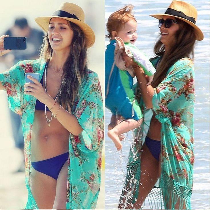Summer Women Retro Floral Chiffon Bikini Cover Up Leisure Sexy Swimwear