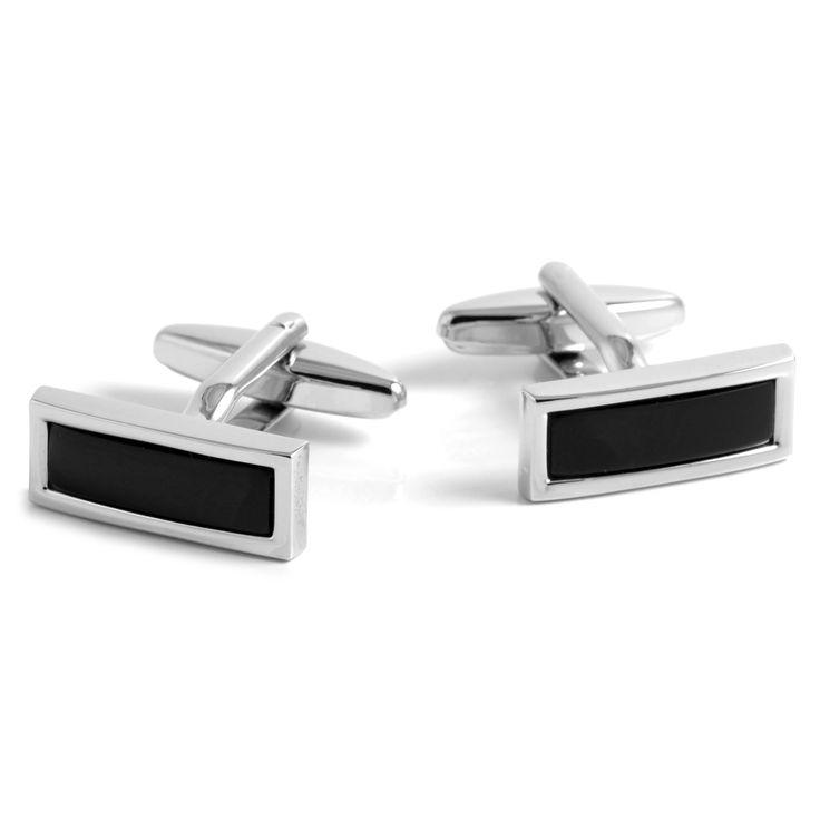 Sort/Sølv Aflange Manchetknapper - 149,00kr