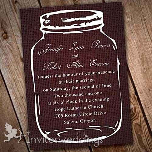 Brown Mason Jars Wedding Invitations