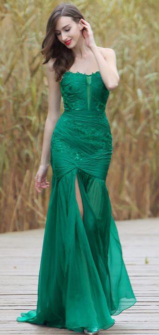 eDressit Sexy Green Strapless Floral Dress