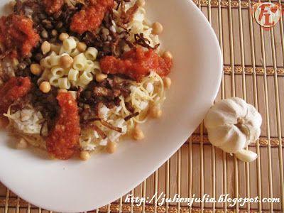 "Food Lover مطبخ جوليا العرب: Egyptian ""Koshari"" طريقة الكشري المصري بالصور Scroll down for English Recipe."