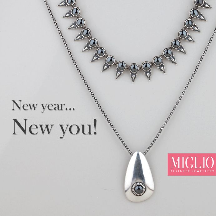 Create your own fashion rules - be fun, be daring and dramatically different with our bold hematite spear necklace. Get the look with Miglio Designer Jewellery's N1544 (necklace) N1500 (necklace) and EN1198 (pendant).