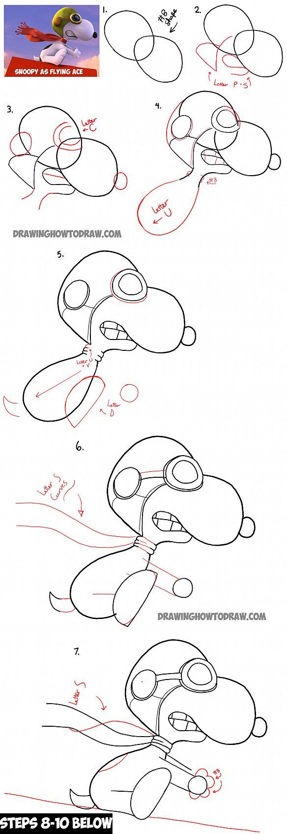 How to Draw Snoopy the Flying Ace from The Peanuts Movie with Easy Step by Step Drawing Lesson