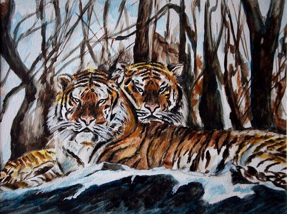 Reduced Price ......... was $120 Now it Is $85.00 LimitedTime Offer Tigers Painting Resting in the Wood Wild Life Art by sadashivarts, $85.00