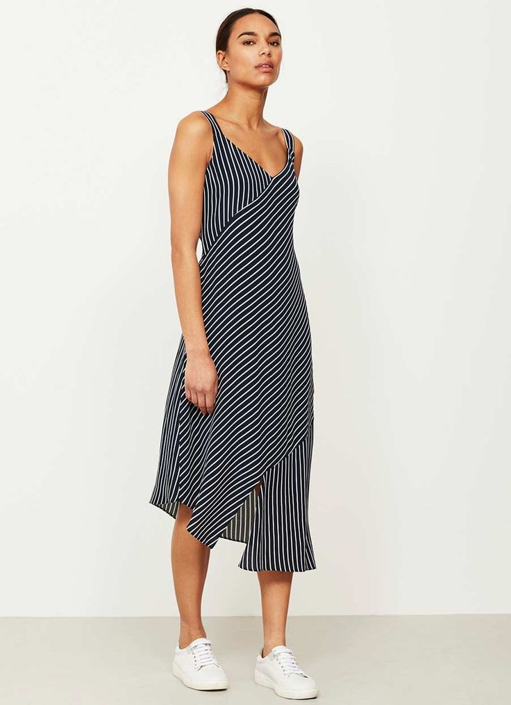 PINSTRIPE BLOCKED SLIP DRESS | Mint Velvet