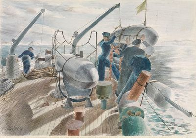 Minesweeping in the Straits of Gibraltar, swinging out an Oropesa by Leslie Cole - print