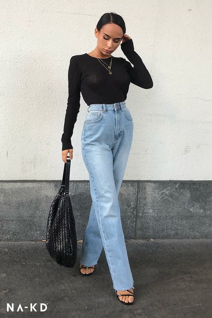 🧡High Waist Raw Hem Straight Jeans 🧡