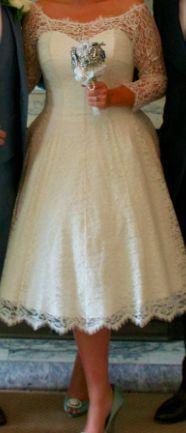 1950s vintage style French lace and silk short ivory wedding dress size 14 16   eBay