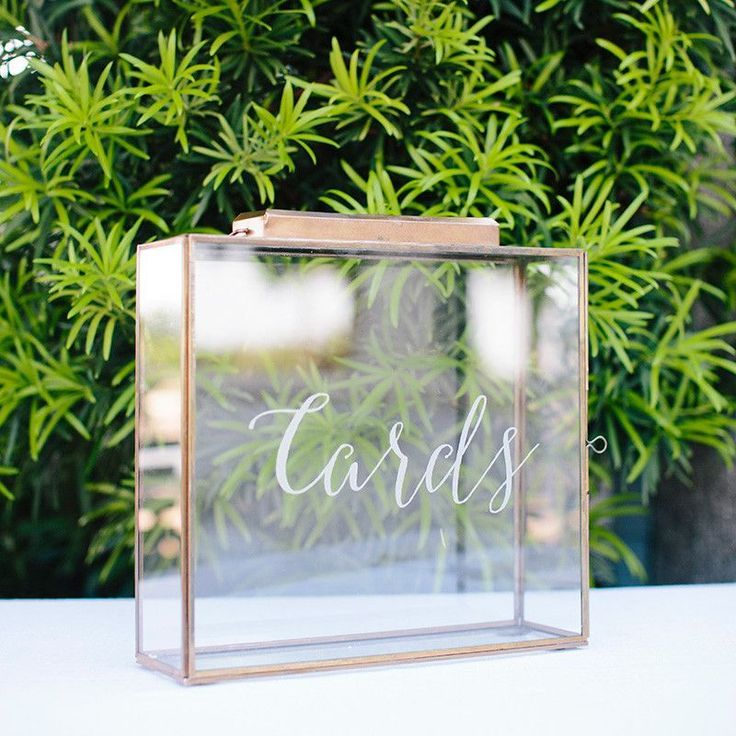 This beautiful card box is a perfect way to collect your wedding cards. The door latch is discreetly located so the box looks seamless. The slot is the perfect size for cards. We have added frosted vi