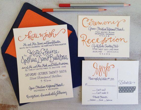 Wedding Invitations Navy Orange by GreySnailPress on Etsy, $8.00
