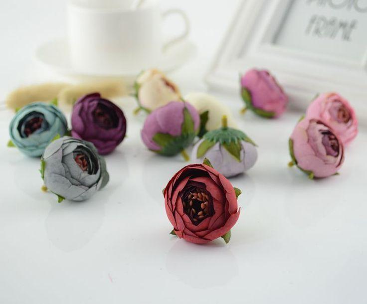 Bolsa de té de seda fake rose flores flores artificiales barato para el hogar decoración de la boda diy material coronas regalos scrapbooking