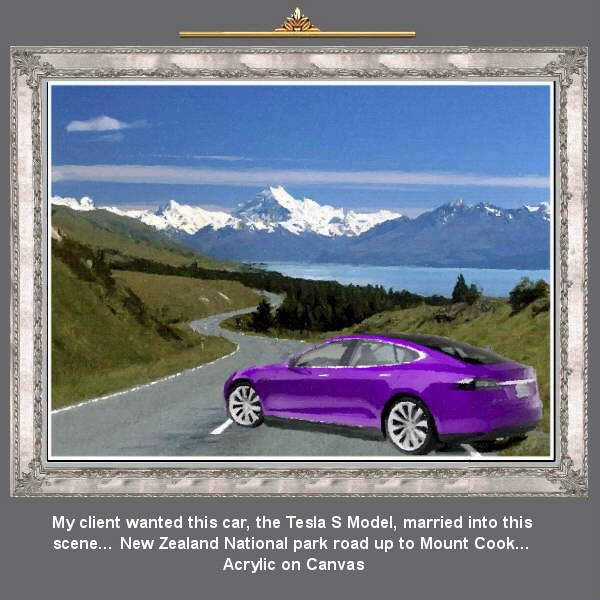 My client wanted this car, the Tesla S Model, married into this scene… with Sports car artist Malcolm Hazeldean…. https://www.youtube.com/watch?v=76zz2ISakDQ geatvideo@yahoo.com.au
