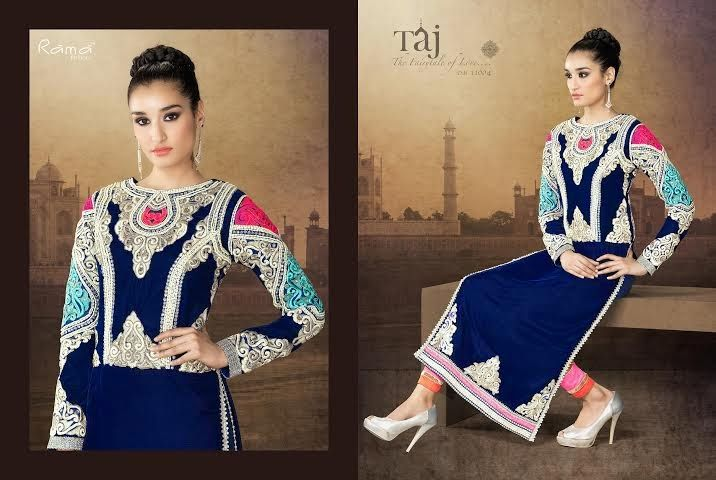 Very Classy and Rich Navy Blue and Pink  Semi-stitched Velvet straight cut suit with back yoke with Heavy Hand and Machine Work. Comes along with Santoon Bottom and Inner and Chiffon Dupatta.