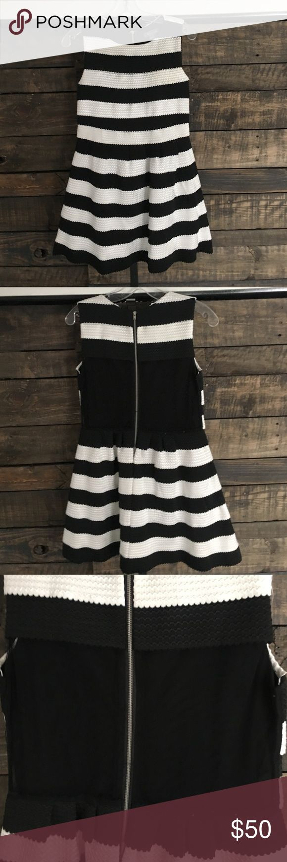 Black and White Striped Cocktail Dress Gorgeous, black and white cocktail dress purchased at a local Boutique in Saratoga Springs, NY. Worn ONCE! Mesh back. Silver zipper. Mint condition! Knee length - Size medium. Gracia Dresses Midi