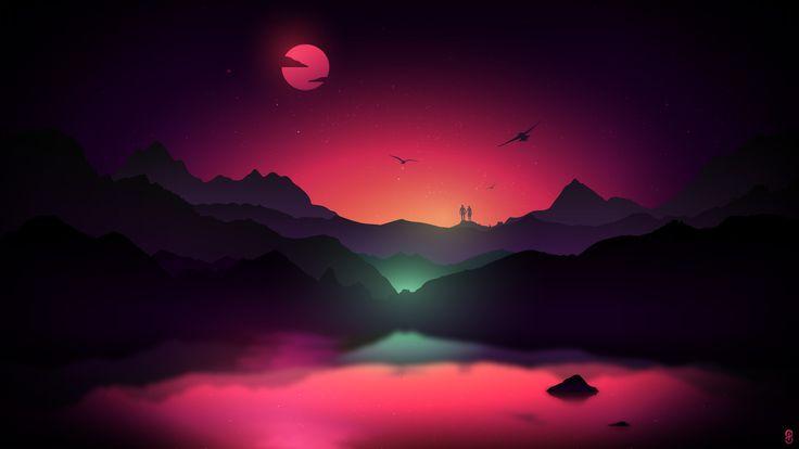 General 2560x1440 artwork digital art landscape valley sunset