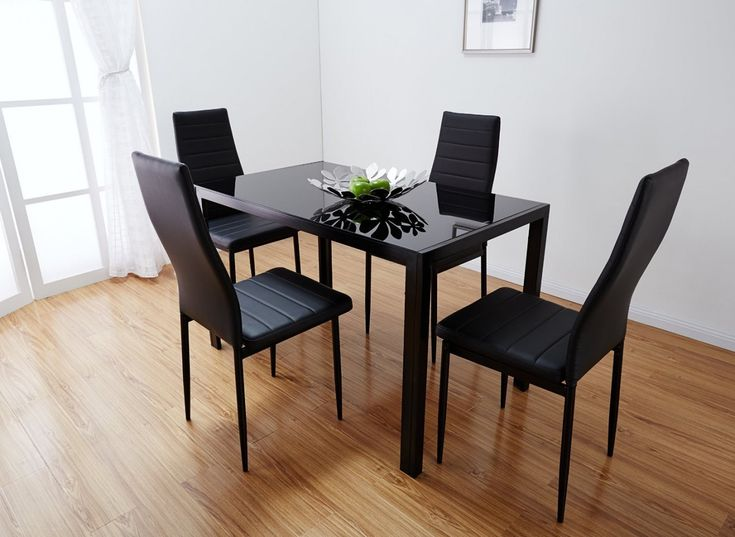 70 black glass dining table and 4 chairs rustic modern furniture check more at - Black Dining Table And 4 Chairs