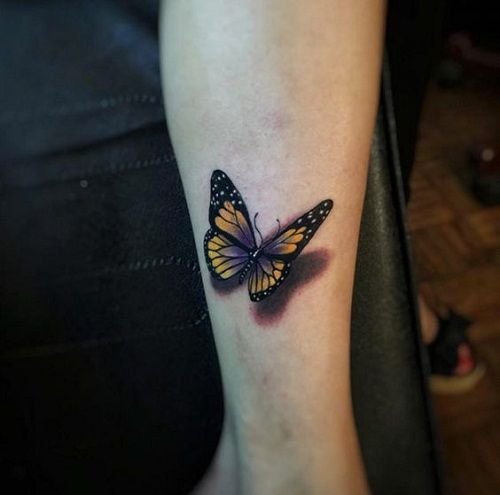 Yellow+and+Black+with+a+Touch+of+Violet+Butterfly+Arm+Tattoo