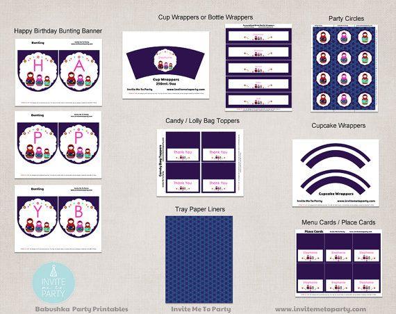 Babushka Party Decoration Printables / by InviteMe2Party on Etsy, $29.00