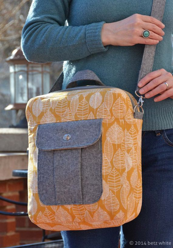 Jet Pack PDF Sewing Pattern by betzwhite on Etsy - Can be worn as a cross-body or a backpack. Genius!