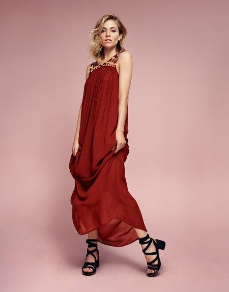 Sienna Miller poses in a red maxi dress from Lindex's spring 2016 collection