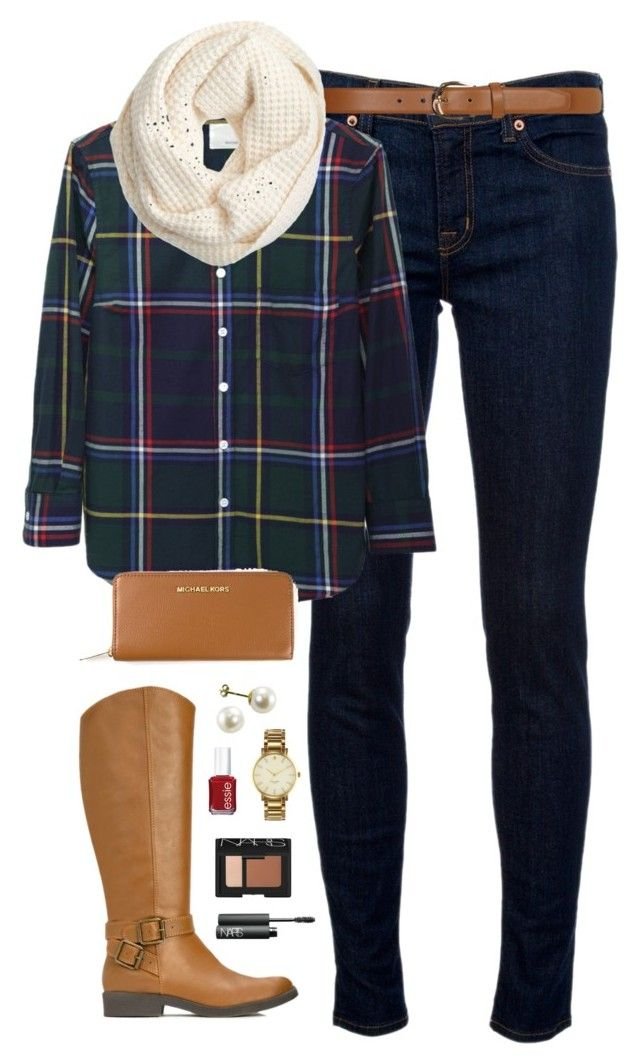 """""""plaid"""" by classically-preppy ❤ liked on Polyvore featuring J Brand, Band of Outsiders, Dorothy Perkins, J.Crew, JustFab, MICHAEL Michael Kors, Essie, Kate Spade and NARS Cosmetics"""
