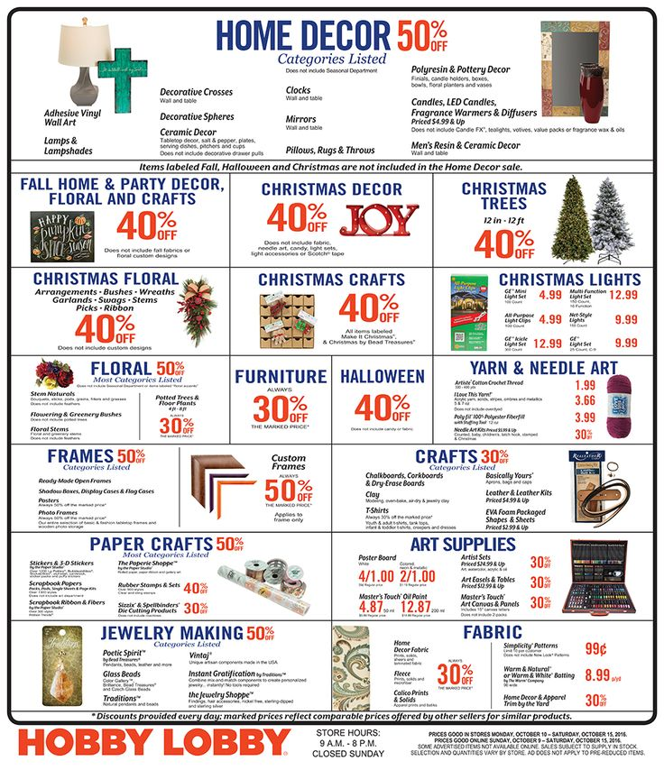 Hobby Lobby Weekly Ad October 9 - 15, 2016 - http://www.olcatalog.com/grocery/hobby-lobby-weekly-ad.html