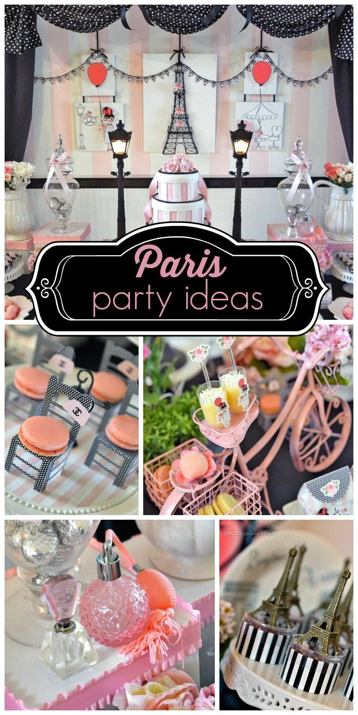 A lovely pink, black and white Paris themed girl birthday party with macarons and an amazing backdrop!  See more party ideas at CatchMyParty.com!