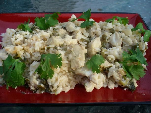 Madame Soohoo's Rice Cooker Fish and Rice ~  1 1/2 lb fish fillets, in 2-in pieces. Marinade: 2 t garlic, 2 t ginger, 3 green onions, 1/4 C cilantro, 1 T oil, 3 T rice vinegar, 2 T oyster sauce, 3 T brandy or dry sherry, ⅛ t sugar, 1/4 t white pepper, 1 1/2 T cornstarch, 1 t sesame oil. Rice: 1 1/2 C medium grain white rice, 1 3/4 C water.  Marinate fish 20-30 min @ room temp or up to 4 hr in fridge; add rinsed rice and water to cooker; add fish & marinade; cook & let sit at warm stage 5…