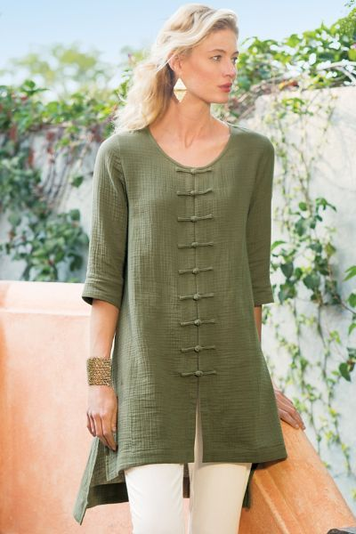 "rog closures lend a dash of Asian inspiration to the bodice of our bubble gauze tunic. An easy-going layer for the warmer days ahead, it has a scoop neck, 3/4 sleeves and a flyaway hem with side slits for dramatic movement with every step. Cotton. 35""/39"" long.  Mackenzie Top I - Item #2AE51"