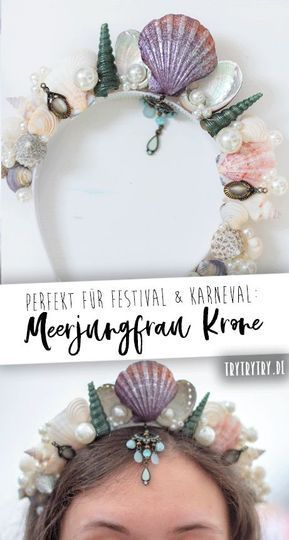 Mermaid crown perfect for the festival or carnival. #carnival #festival #fasching # costume #mermaid #crown #mermaid #crown #festivalkostüm # carnival #diy costume #diy