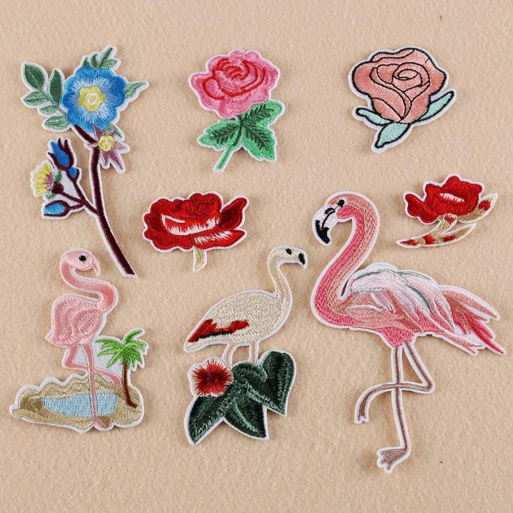 1Pc Fine Embroidered Patches Against Birds and Flowers Combination Wind In Europe and America Pop Patch on Patch For Cloth