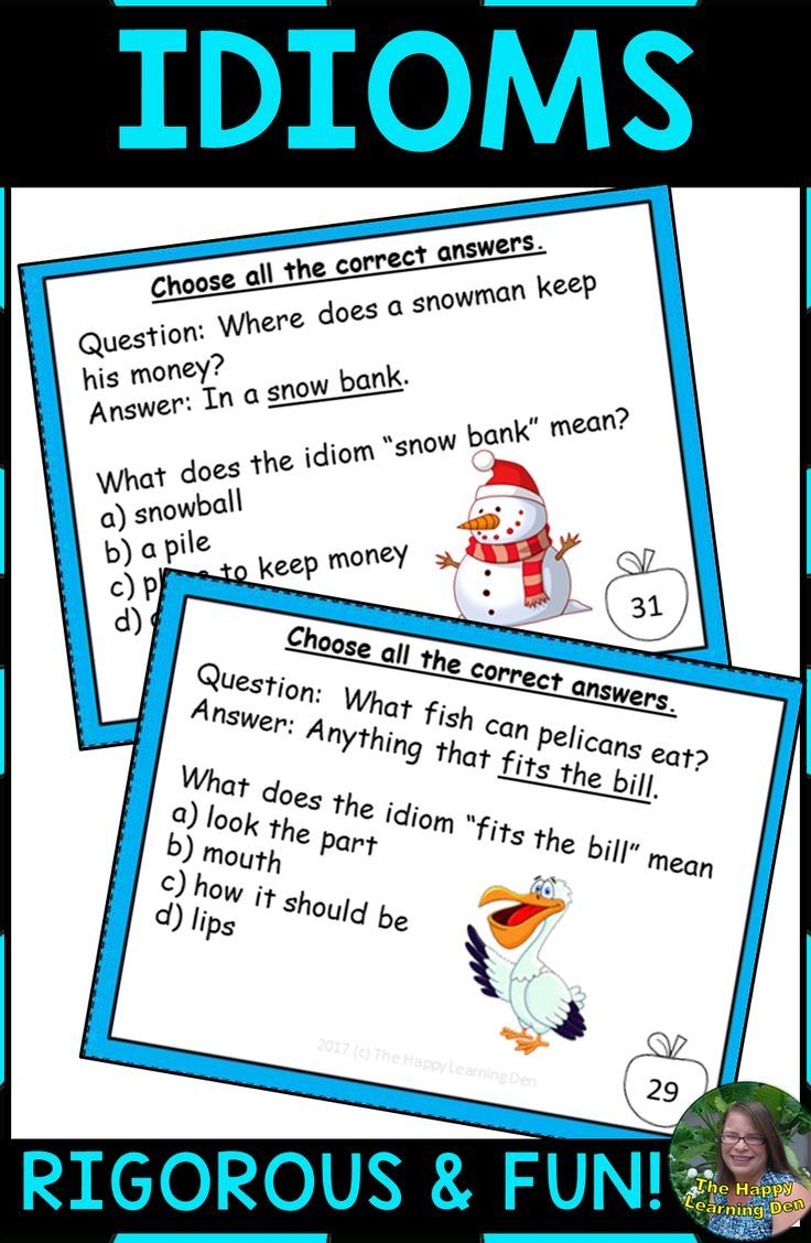 Idioms Task Cards Task cards, Idioms, Jokes, riddles