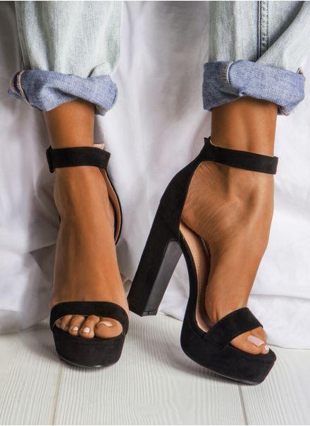 65229010724531 Czarne sandałki na platformie Terre Suede | Shoes | Shoes, Heels i ...