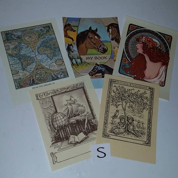 5 vintage unused book plates variety mix sample lot Library labels Antioch Bookplate Co paper supplies