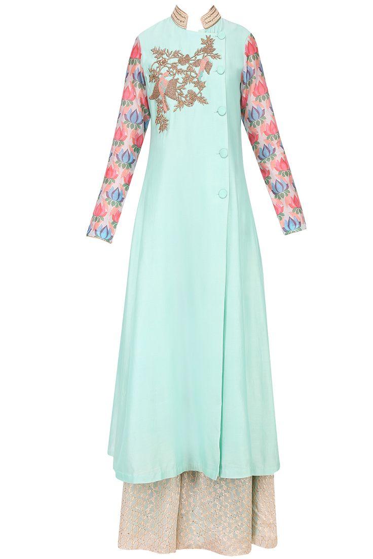 Aqua blue bird motif dabka embroidered kurta with divided skirt available only at Pernia's Pop Up Shop.