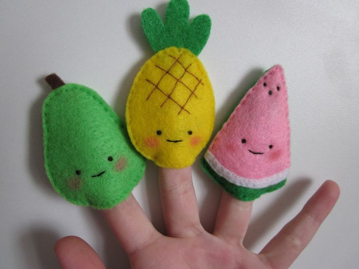 pear, pineapple, watermelon finger puppets