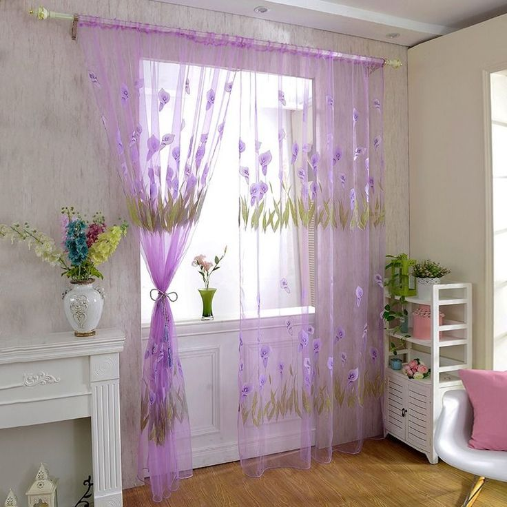 Voile Curtain Floral Organza Sheer Window Scarf Valance Home Decor Drapes 1PC #Unbranded #Asian