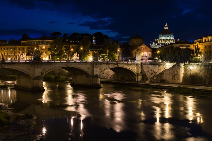 Rome - St Peter from the tiber in the blue hour - Rework of an old file