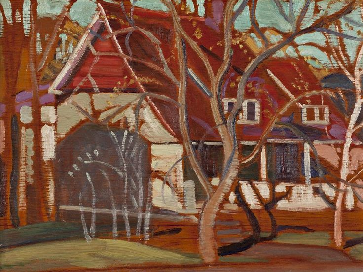 Anne Savage - The Red House 9 x 12 Oil on double sided panel (1940)