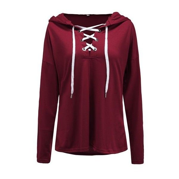 Rotita Lace Up Hooded Collar Long Sleeve Sweatshirt ($29) ❤ liked on Polyvore featuring tops, hoodies, sweatshirts, wine red, collared sweatshirt, purple top, red sweatshirt, print pullover and hooded pullover