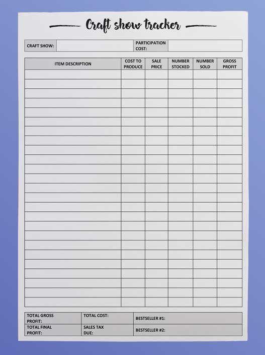 craft fair inventory tracker free printable business pinterest