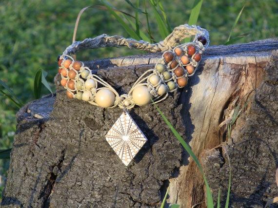 Hemp Wooden Diamond Design Necklace by FreeSpiritWind on Etsy, $30.00