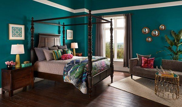trend in bedroom paint teal wall color wood flooring poster bed #manchesterwarehouse