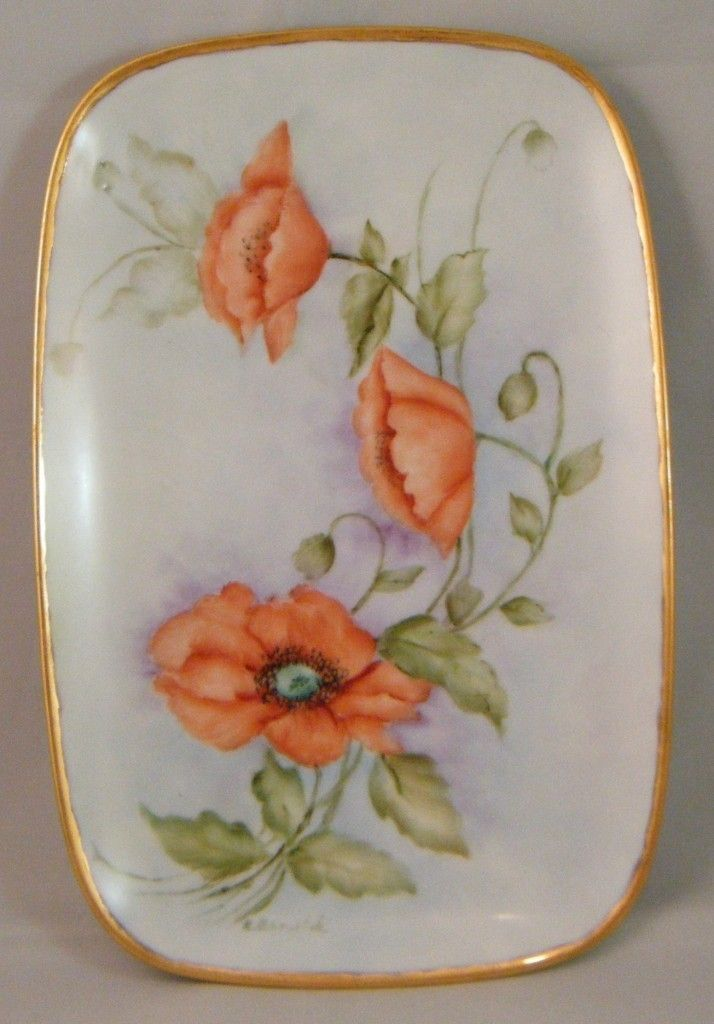 Vintage Antique 'Poppy Flowers' Hand Painted Porcelain Blank Tray Plate Signed | 714 x 1024