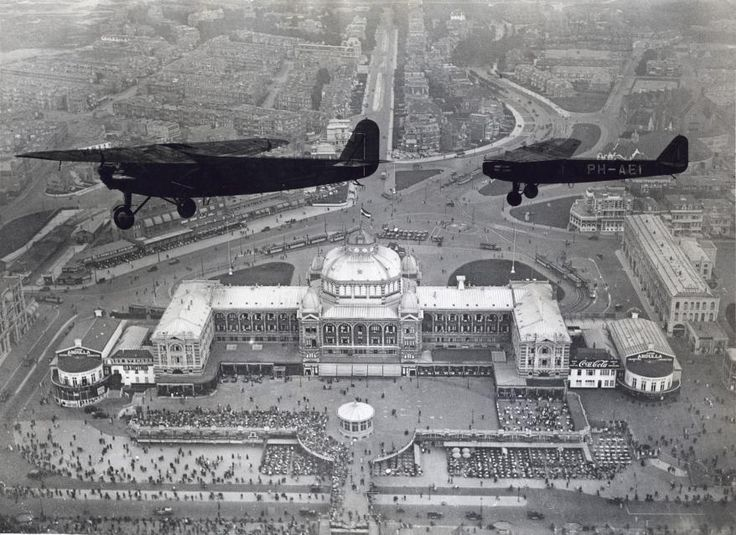 Two Fokker airplanes flying above the Kurhaus, Scheveningen - Kurhaus (Scheveningen) - Wikipedia