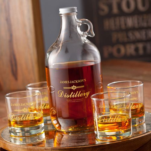 The Personalized Printed Distillery Set Growler 4 Whiskey Gles Makes A Great Gift For Anyone With Home Bar And Completes Any