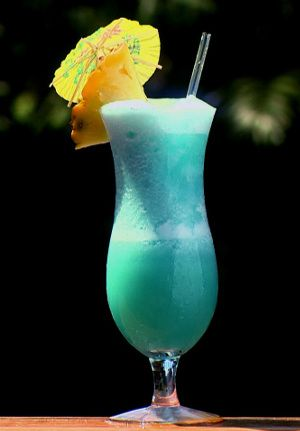 Blue Hawaiian cocktail.Rum based delicious mixed drink.